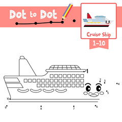 Dot to dot educational game and Coloring book Cruise Ship cartoon character side view vector illustration
