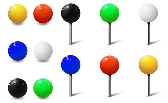 Round Pins and Metal Map Push Pins