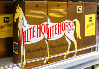 White Horse whiskey ready for sale