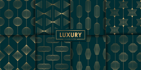 Spoed Fotobehang Kunstmatig Luxury geometric seamless pattern set, Abstract background, Decorative wallpaper.