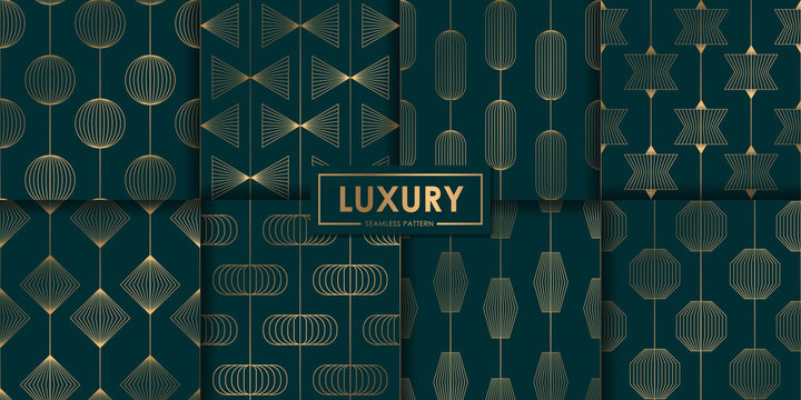Luxury geometric seamless pattern set, Abstract background, Decorative wallpaper.