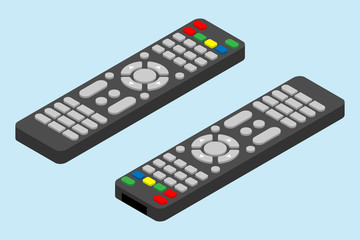 Fototapeta Modern television remote control icon. Isometric angle of tv remote control vector icon for web design isolated on light-blue background. obraz