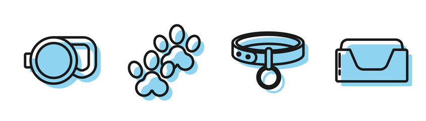 Set line Collar with name tag, Retractable cord leash, Paw print and Pet bed icon. Vector Fotobehang