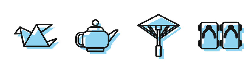 Set line Japanese umbrella from the sun, Origami bird, Japanese tea ceremony and Geta traditional Japanese shoes icon. Vector