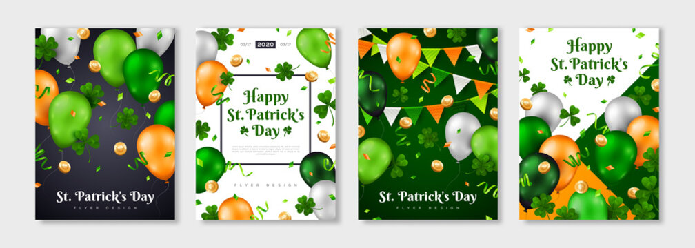 Saint Patrick's Day posters set with clover, gold coins, flying balloons and confetti. Vector illustration. Party Invitation Design, Typographic Template. Eat, Drink and Be Irish. Place for your text