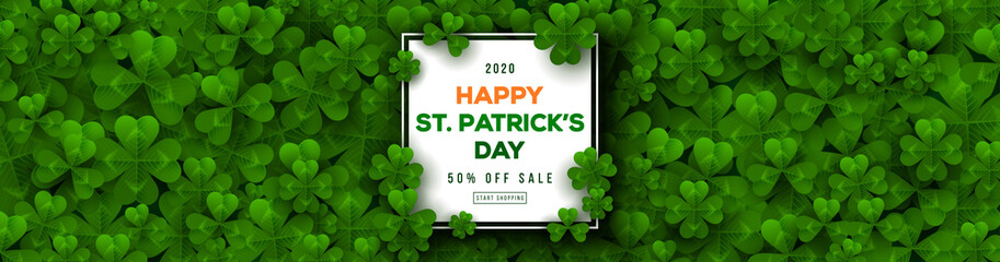 Saint Patrick's Day horizontal banner with square frame and clover leaves. Place for text template. Vector illustration.