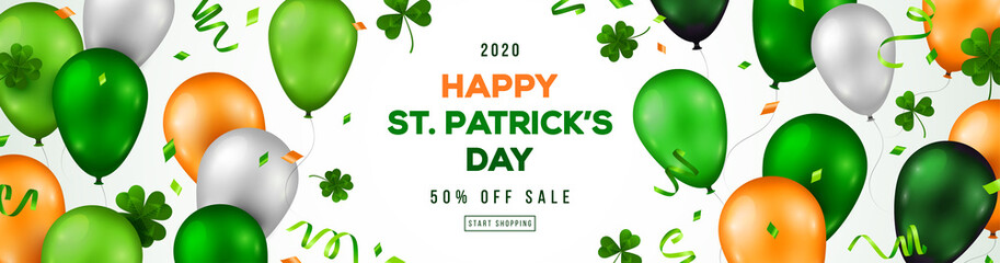 Saint Patrick's Day horizontal banner with irish colored balloons on white background. Confetti, clover and place for text. Vector illustration.