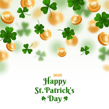 Saint Patrick's Day card or banner with clover leaves and golden coins falling on white background. Place for text. Vector illustration.