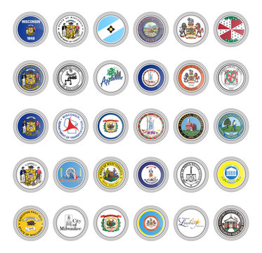 Set of vector icons. Flags and seals of Wisconsin, Virginia and West Virginia states, USA.