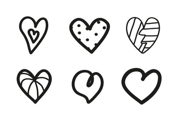 Grunge hearts on isolated white background. Set of unique elements for design. Black and white illustration