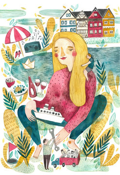 Girl with a boat
