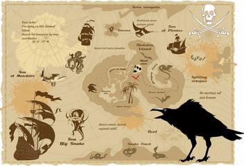 raven and pirate treasure map