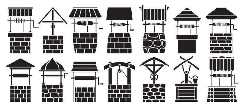 Water well vector black set icon.Vector illustration wooden and stones wellspring on white background . Isolated black set icon water well.