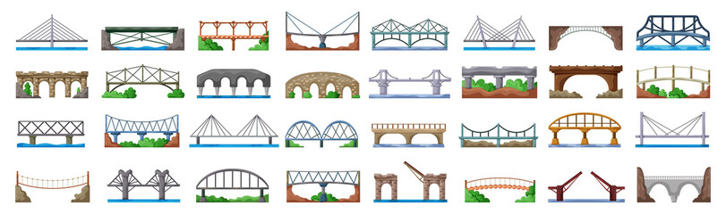 Bridge of construction vector cartoon set icon.Vector illustration river architecture on white background .Isolated cartoon set icon bridge of construction. Fotomurales