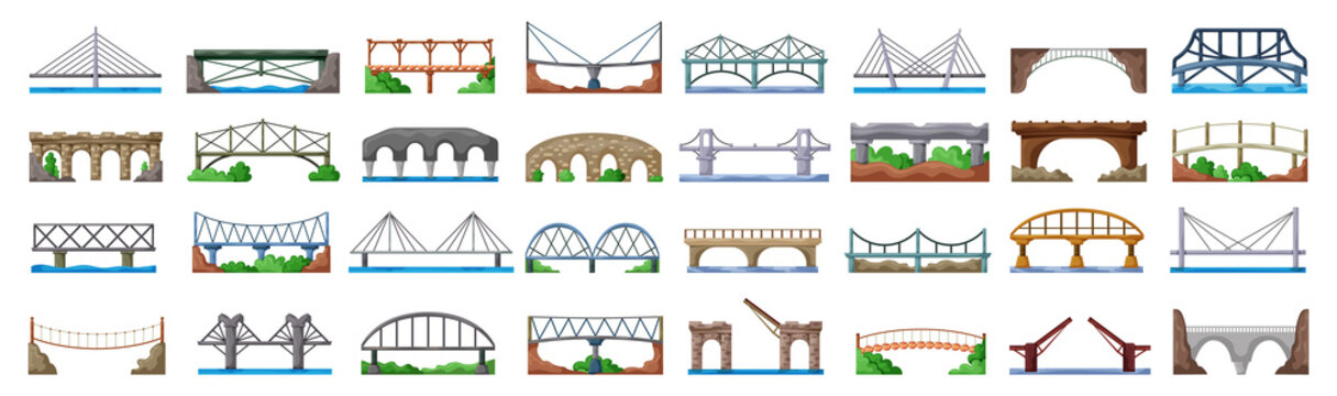 Bridge of construction vector cartoon set icon.Vector illustration river architecture on white background .Isolated cartoon set icon bridge of construction.