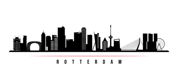 Photo Blinds Rotterdam Rotterdam skyline horizontal banner. Black and white silhouette of Rotterdam, Netherlands. Vector template for your design.