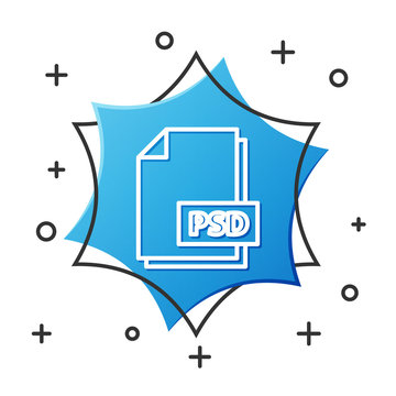 White line PSD file document. Download psd button icon isolated on white background. PSD file symbol. Blue hexagon button. Vector Illustration