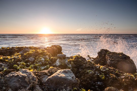 Wild Waves hitting a Rock in a beautiful sunset