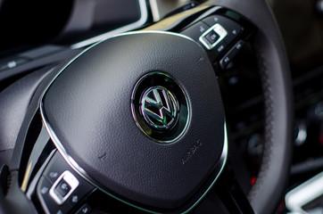 Soest, Germany - August 3, 2019: Volkswagen Passat steering wheel.