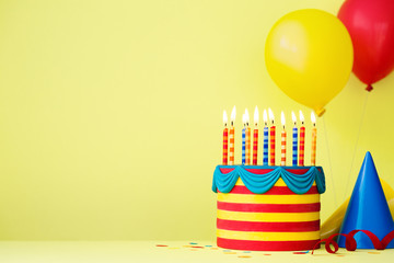 Fototapete - Colorful birthday party background