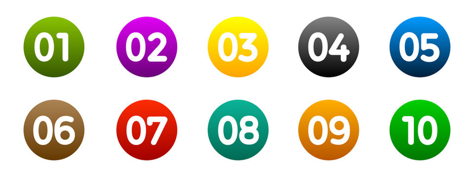 Modern colorful numbers button set multicolored – vector for stock