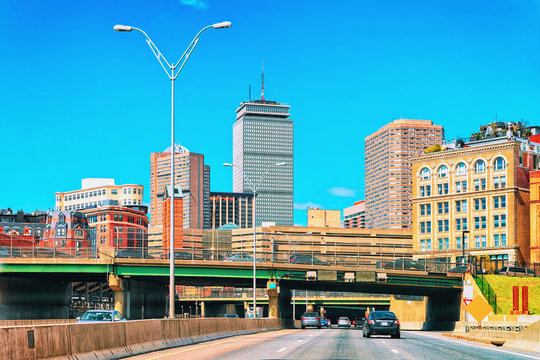 Skyscrapers and Boston road with cars