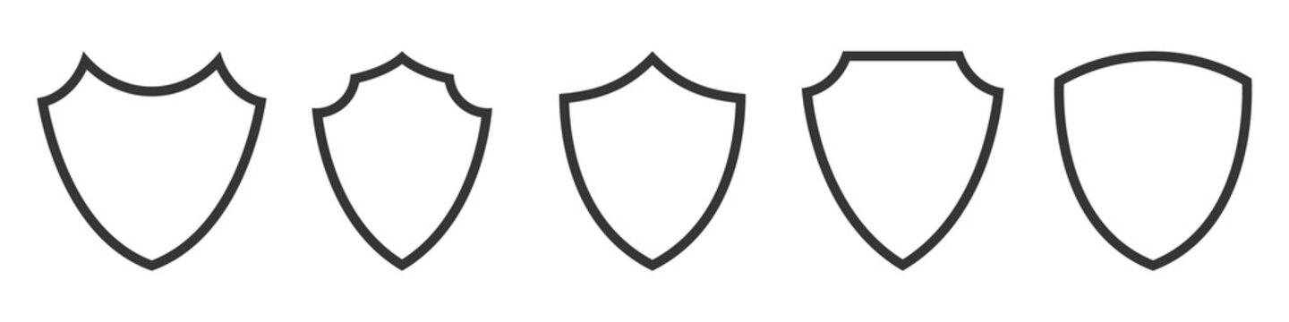 Set of Shield outline icons. Vector Shields.