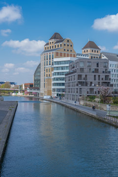Paris, France - 04 14 2019: Canal Lourcq. Reflects of the great Pantin Mills