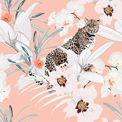 Colorful floral pattern with tiger leopard and exotic tropical leaves illustration. Fashion ornament on peach background.