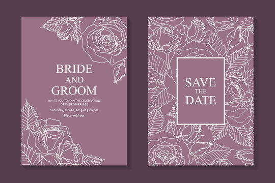 Set of luxury floral wedding invitation design or greeting card templates with white roses on a pink background.
