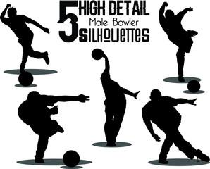 5 High Detail Male Bowler Silhouettes