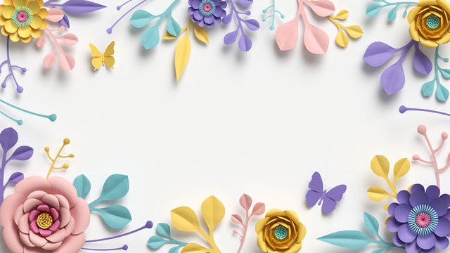 3d render, horizontal floral frame with copy space. Abstract cut paper flowers isolated on white, botanical background. Rose, daisy, dahlia, butterfly, leaves in pastel colors. Modern card template