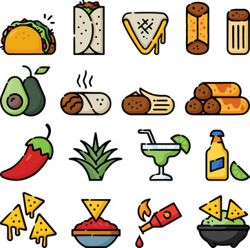Mexican Foods Doodle Sketch Icon Set