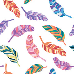 seamless pattern colorful feathers