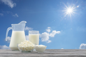 Dairy products in glass bowl against blue sky