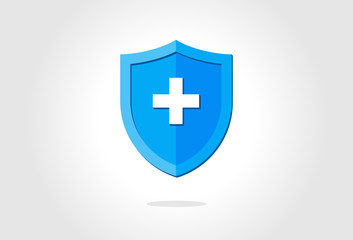 Blue medical health protection shield with cross. Healthcare medicine protected steel guard concept symbol. Vector insurance icon isolated illustration