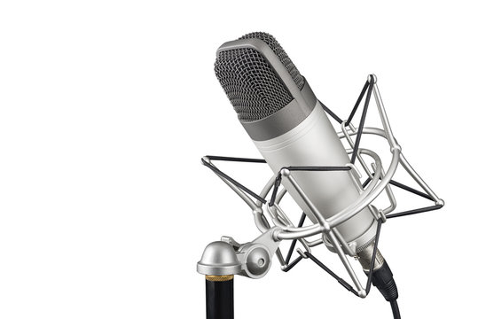 Silver studio condenser microphone isolated on white background