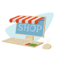 cartoon illustration of a retro online shop
