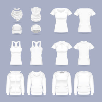 Blank white collection of women's clothing templates. T-shirt, hoodie, sweatshirt, short sleeve polo shirt, head bandanas and cap, tank top, neck scarf and buff. Realistic vector mock up