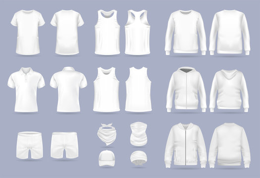 Blank white collection of men's clothing templates. T-shirt, hoodie, sweatshirt, short sleeve polo shirt, jacket bomber, head bandanas and cap, tank top, neck scarf and buff. Realistic vector mock up