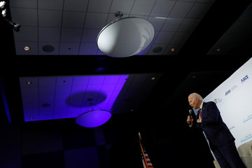 "Democratic 2020 U.S. presidential candidate and former U.S. Vice President Joe Biden arrives to the ""Moving America Forward: A Presidential Candidate Forum on Infrastructure, Jobs and Building a Better America"" event in Las Vegas, Nevada"