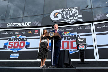 U.S. President Donald Trump delivers remarks at the NASCAR Daytona 500