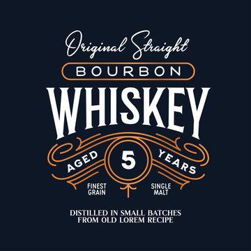 Whiskey Bourbon label logo emblem. Vintage vector illustration.