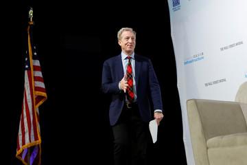 "Democratic presidential candidate Steyer arrives at the ""Moving America Forward: A Presidential Candidate Forum on Infrastructure, Jobs and Building a Better America"" event in Las Vegas"