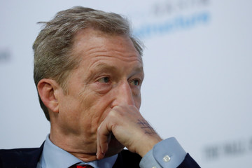 "Democratic presidential candidate Steyer listens to a question at the ""Moving America Forward: A Presidential Candidate Forum on Infrastructure, Jobs and Building a Better America"" event in Las Vegas"