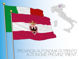 Trentino, officially the Autonomous Province of Trento flag and map, Italy, vector illustration