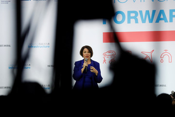 "U.S. Democratic presidential candidate Senator Klobuchar speaks during the ""Moving America Forward: A Presidential Candidate Forum on Infrastructure, Jobs and Building a Better America"" event in Las Vegas"