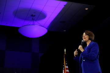 "U.S. Democratic presidential candidate Senator Amy Klobuchar speaks during the ""Moving America Forward: A Presidential Candidate Forum on Infrastructure, Jobs and Building a Better America"" event in Las Vegas, Nevada"