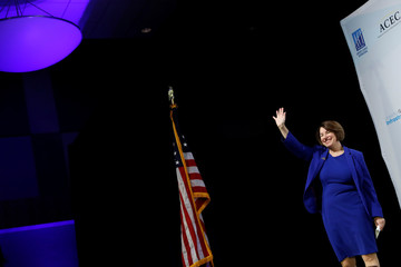 "U.S. Democratic presidential candidate Senator Amy Klobuchar arrives to the ""Moving America Forward: A Presidential Candidate Forum on Infrastructure, Jobs and Building a Better America"" event in Las Vegas, Nevada"