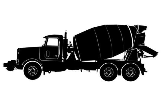 concrete mixer truck silhouette vector on white background